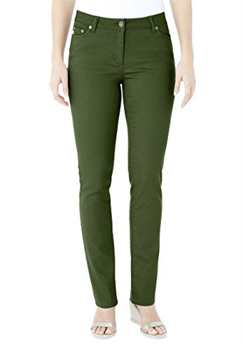 Plus Size Woman Within Petite 5-Pocket Skinny Jeans (Forest Green,38 Wp)
