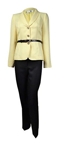 Tahari ASL Womens Petites Harry Herringbone 2PC Pant Suit Yellow 10P