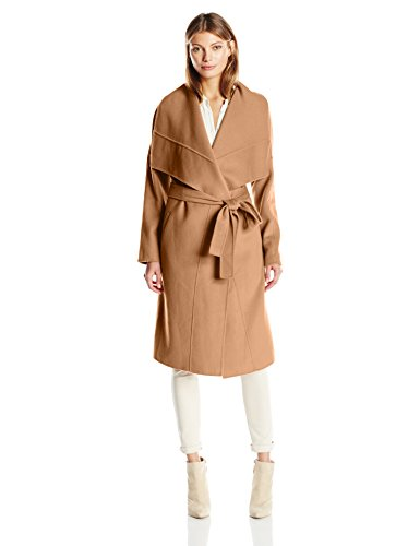 Badgley Mischka Women's Lex Double Face Wool Wrap Coat with Draped Collar, Camel, XS