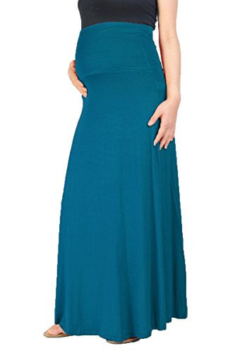 Beachcoco Women's Maternity High Waisted Fold Over Maxi Skirt (M, Teal Blue)