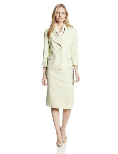 Le Suit Women's Tweed Jacket with Skirt and Scarf Suit Set, Pale Crabapple, 8