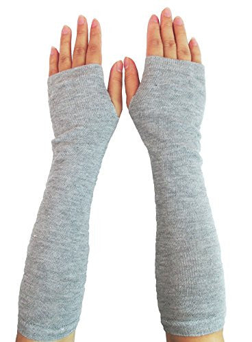 Women Stretchy Long Sleeve Fingerless Gloves (Knitted-Gray)