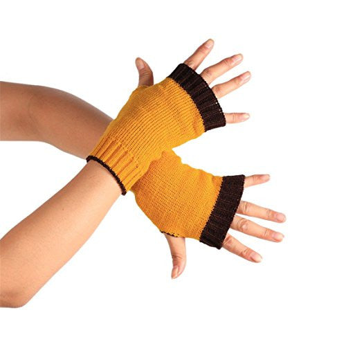 HN Winter Wrist Arm Hand Warmer Knitted Long Fingerless Gloves Mitten (Yellow)