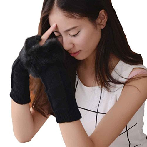 Emubody Women Winter Knitted Arm Fingerless Gloves Soft Warm Mitten (Black)