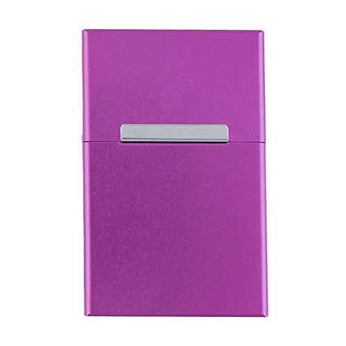 Hestio 20s Purple Men Women Aluminum Flip Open Top Cigarette Case Holder