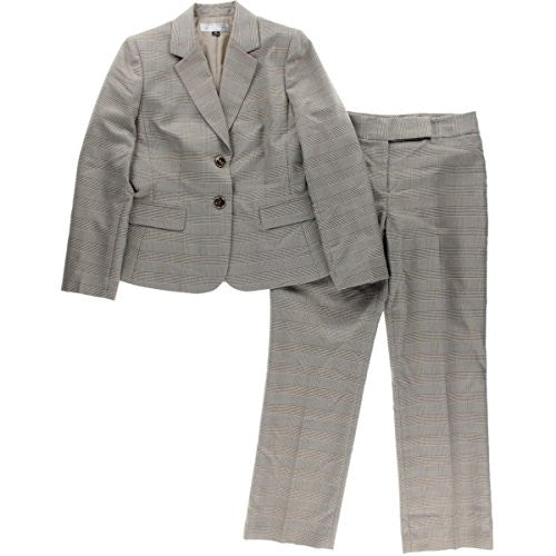 Tahari ASL Womens Petites Mark Plaid 2PC Pant Suit Brown 8P