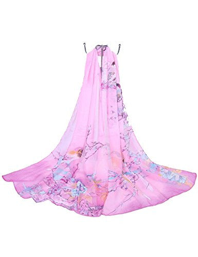 Female summer autumn all-match bird print long design air conditioning cape Chiffon silk scarf scarves shawl (Hot pink)