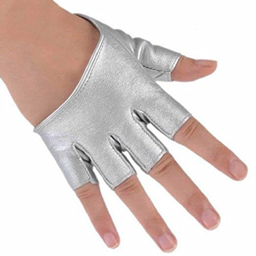 Braceus Women's Half Finger PU Leather Gloves Pole Dancing Punk Gloves (one size, Silver)