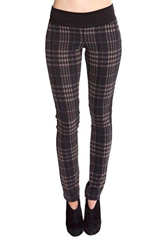 Olian Kathy Underbelly Maternity Knit Plaid Pant - Olive/Black Plaid - Small