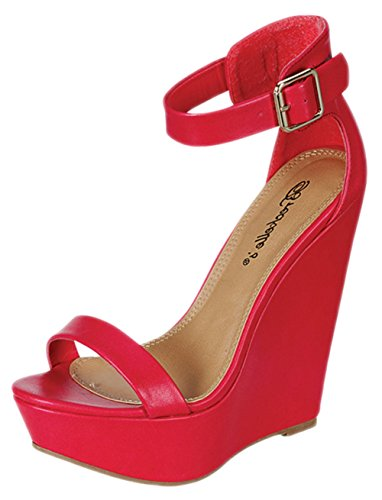 Breckelles Vivi-41 Women's Open Toe Ankle Strap Platform Wedge Sandals,Fuschia,8