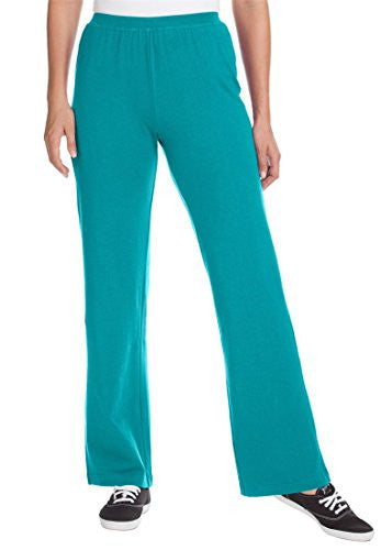 Plus Size Woman Within Tall Stretch Knit Wide Leg Pants (Paradise Turq,S)