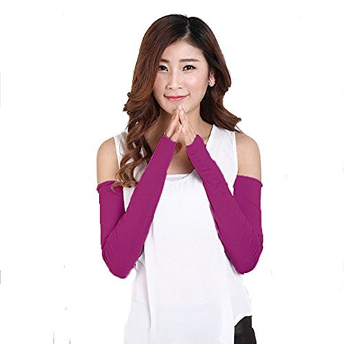 Polytree Women's UV Protection Arm Sleeves Golf Driving Long Gloves - Purple