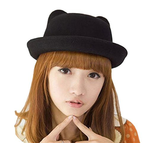 SYTX Women Cut Cat Ears Crimping Dome Wool Formal Hat Black OS