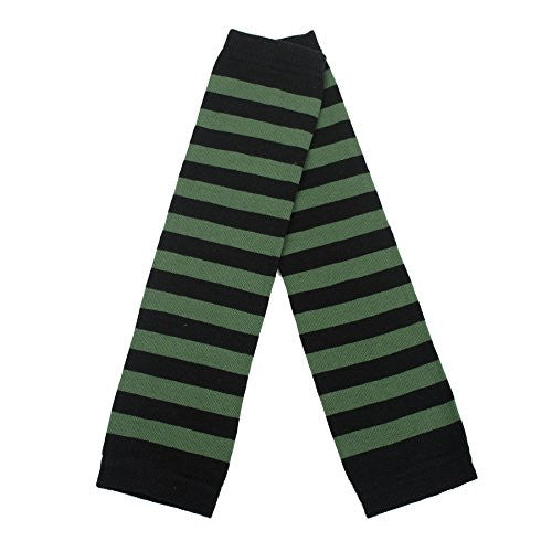 Ladies Armwarmers with Black & Green Thick Stripes