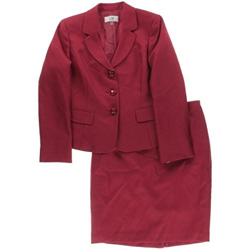 Le Suit Women's Petite 3 Button Novelty Texture Jacket and Skirt Set, Crimson, 4/Petite