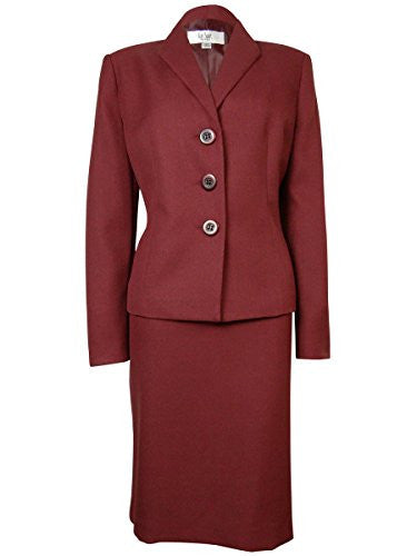 Le Suit Women's Woven Cuffed Tuscany Skirt Suit (12P, Bordeaux)