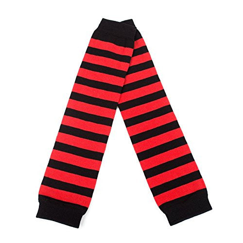 Ladies Armwarmers with Thick Stripes (Black/Red)