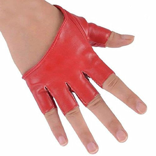 Amaible Wild fashion Women Half palm Leather Driving Short Fingerless Gloves - Red