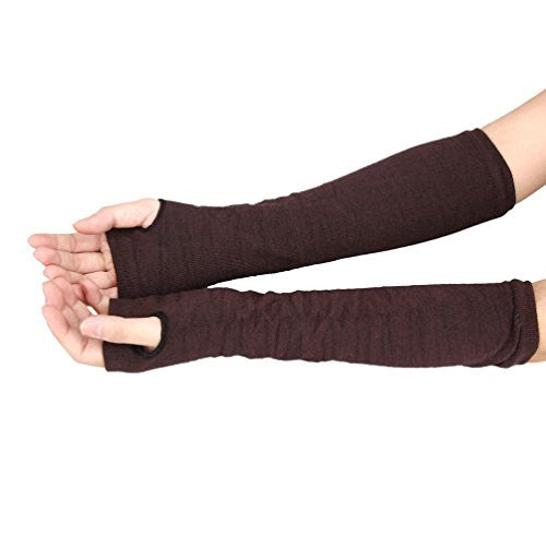 Emubody Mitten,Winter Wrist Arm Hand Warmer Knitted Long Fingerless Gloves (Coffee)