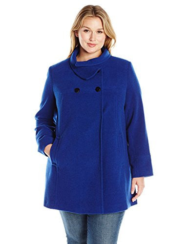 Larry Levine Women's Plus Size Db Stand Collar Best Seller, Sapphire, 3X