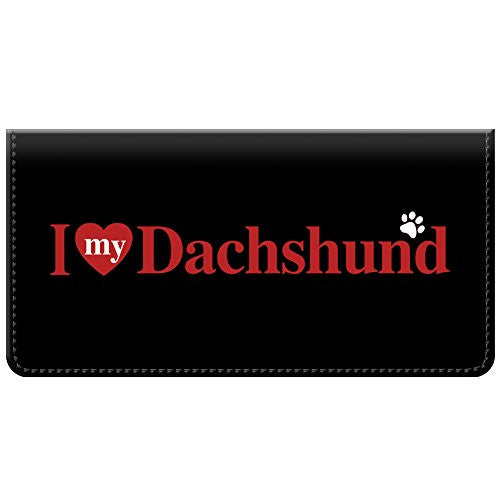 Snaptotes I Love My Dachshund Checkbook Cover One Size Red White Black
