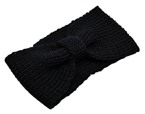 Womens Warm Head Wrap Skiing Cap Knitted Beanie Black