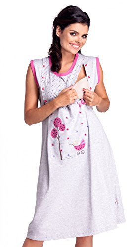 Zeta Ville - Womens Maternity Breastfeeding Nightdress Robe Set Hospital - 218c (Fuchsia, US 4/6, S)