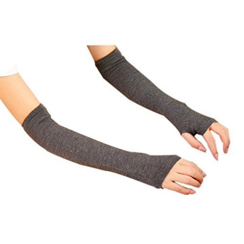 Cityelf Women's Spandex Thumb Hole Solid Color Sleeves Glove STW0024 darkgrey