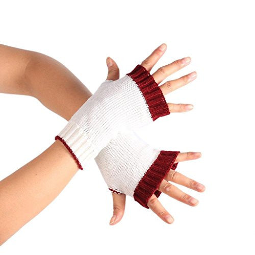 Emubody Winter Double Color Warmer Knitted Long Fingerless Gloves (White)