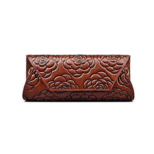 Fengyaqiandai China Style 22288A Embossed Leather Classic Ladies Luxury Leather Clutches Brown