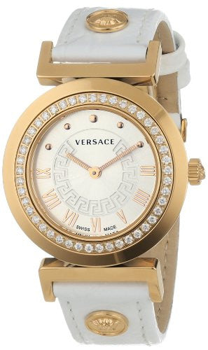 Versace Women's P5Q82D001 S001 Vanity Rose Gold Ion-Plated Stainless Steel Leather Band Diamond Watch