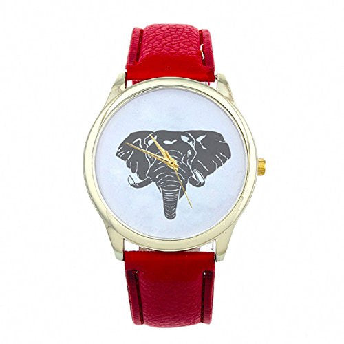 Tonsee 2015 Hot Sale Women Elephant Printing Pattern Watch (Red)