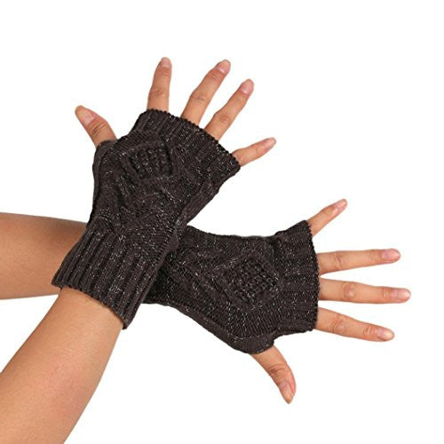 AMA(TM) Women Knitted Arm Fingerless Gloves Winter Soft Warm Mitten (Dark Gray)