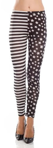 Amour Patriotic Sexy Colorful Prints Fashion Leggings Tights Pants Jegging (Striped & US Stars)