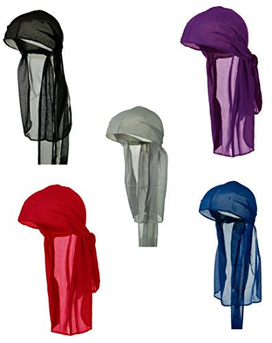 Do Rag Du rag Nylon Wave Cap Pack Black Red Royal Blue Purple Gray