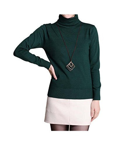 ARJOSA Women's Soft Thin Knit Turtleneck Long Sleeve Slim Fitted Pullovers Sweaters (S / M, #1 Blue Green)