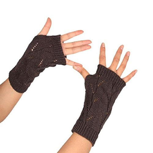 TOOPOOT Women's Branches Pattern Kknitted Arm Fingerless Winter Warmers Gloves (dark gray)