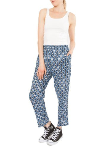 Cotton Printed Peg Trouser Retro S