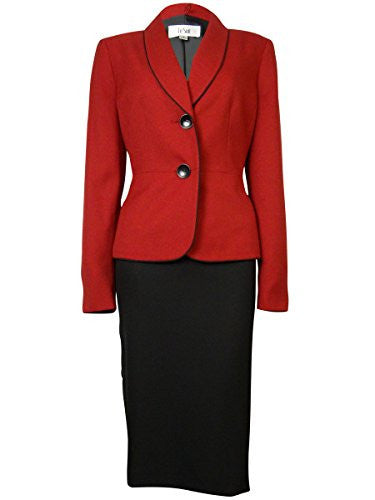 Le Suit Women's Petite Two Button Trimmed Collar Jacket Pant and Scarf Set, Ruby/Black, 10