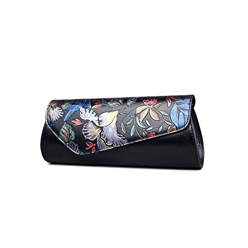 Fengyaqiandai 1060 Designer Floral Collection Genuine Leather Womens Clutchs Black Floral Large