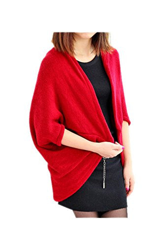 ARJOSA Women Knitted Batwing Loose Open Cardigan Sweater Shawl Wrap (#6 Wine Red)