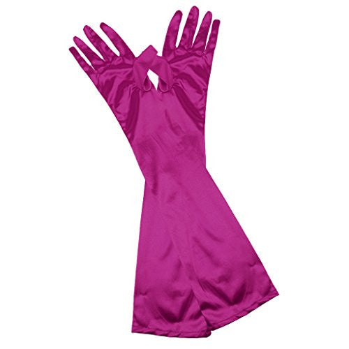 Wrist Length Stretch Satin Gloves for Wedding Bridal Prom Formal 12 Colors - Rose Red