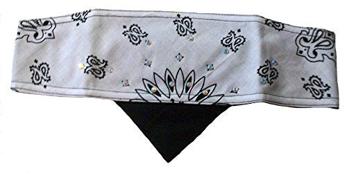 HWH White Paisley Bling Biker headwrap bandana womens skull cap by No More Knots