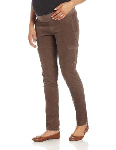Maternal America Women's Maternity Corduroy Pants, Mocha, Large