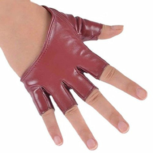 Academyus Fashion Ladies Women Half Finger Leather Driving Show Gloves - Wine Red