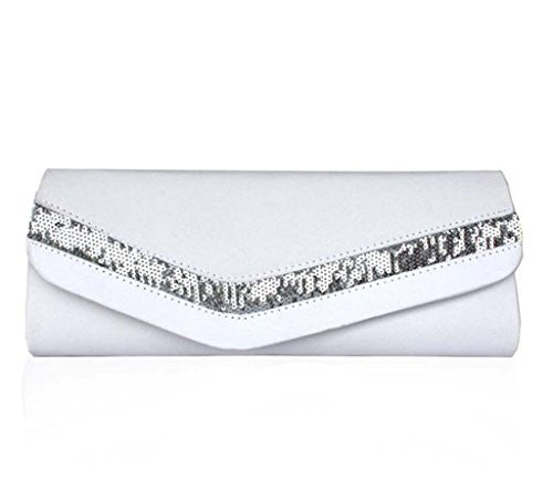 Abless Women Simple Designe Sequin Wedding Party Fashion Clutch Chain Handbag - White