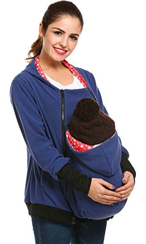Maternity Casual Kangaroo Hoodie Long Sleeve Hooded Jacket for Baby Carrier (M, Blue)