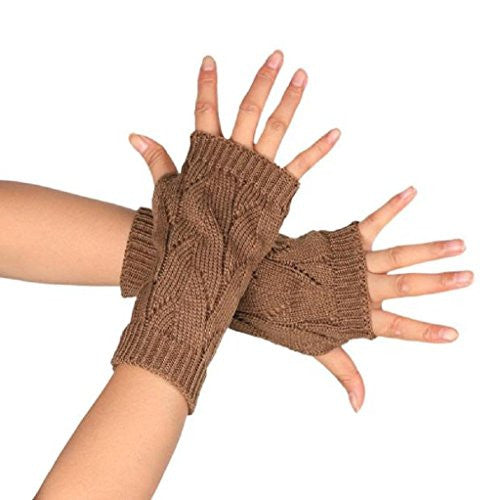 TOOPOOT Women's Branches Pattern Kknitted Arm Fingerless Winter Warmers Gloves (khaki)