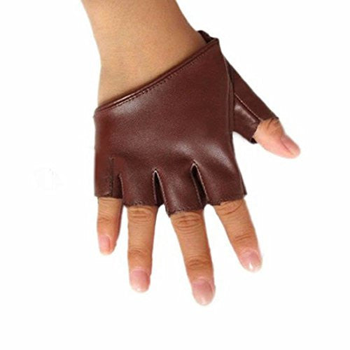 Polytree Women's PU Leather Gloves Half Finger Pole Dancing Punk Gloves - Coffee