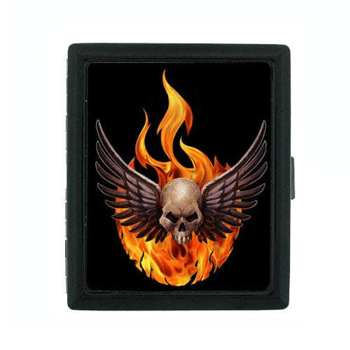 Metal Cigarette Case Holder Box Skull Design-006